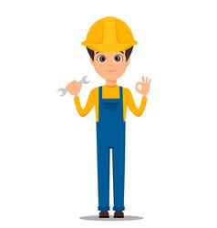 Constructor worker handsome repair worker holding vector