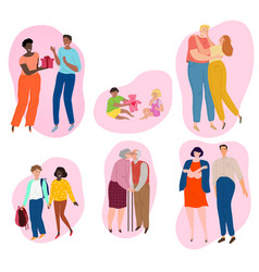 Couples different ages in love children vector