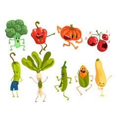 cute artoon vegetables set food characters vector image