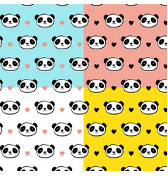 Cute panda bear seamless patterns vector