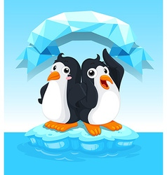 Cute penguins standing on ice vector