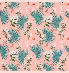 cute white flowers with tropical leaves on pastel vector image