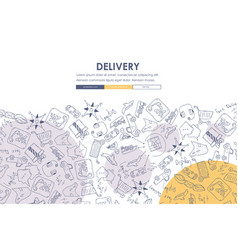 Delivery doodle website template design vector