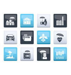 different kind of insurance and risk icons vector image