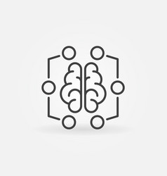 Digital brain minimal icon - machine vector