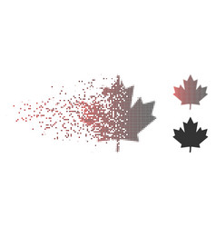 Disintegrating pixel halftone maple leaf icon vector
