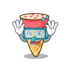 Diving ice cream tone character cartoon vector