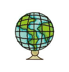 doodle global earth planet desk design to study vector image