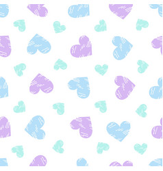 Doodle heart pattern scattered in bright vector