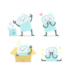Emoji sticker set icon baby robot toy cute small vector