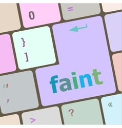 Faint word on keyboard key notebook computer vector