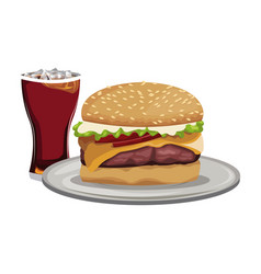 Fast food burger cheese sauce and soda with ice vector