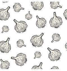 Garlic hand drawn background seamless pattern vector