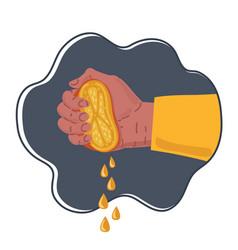 hand squeezes fresh ripe orange vector image