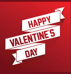happy valentines day ribbon lettering vector image