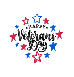 Happy veterans day hand lettering on color stars vector