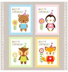 Holiday stamps with animals vector image