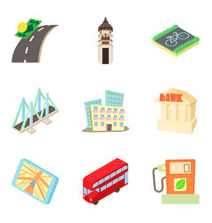 Infrastructure investment icons set cartoon style vector