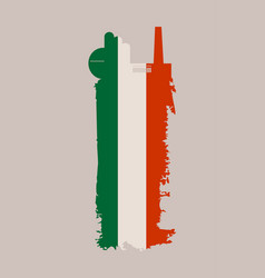 isolated factory icon and grunge brush italy flag vector image
