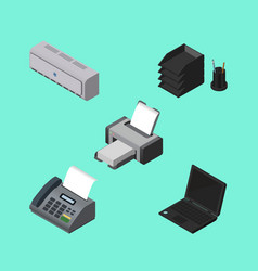 Isometric business set of wall cooler desk file vector