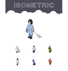 isometric person set of guy medic hostess and vector image