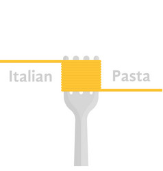 italian pasta logo with fork and spaghetti vector image