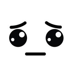 Kawaii tender sad face icon vector