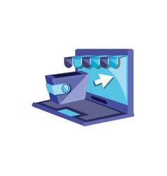 laptop computer with wallet and parasol vector image