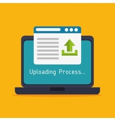 Laptop upload process design isolated vector