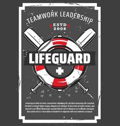Lifeguard lifebuoy marine ropes and paddles vector