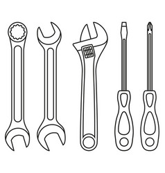 Line art black and white wrench screwdriver set vector