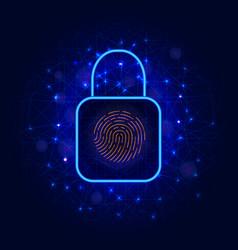 Lock symbol and biometric fingerprint scanner for vector