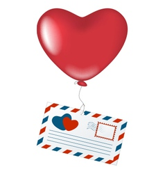 Love letter with heart balloon vector image