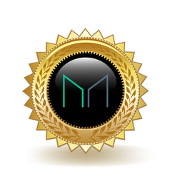 Maker cryptocurrency coin gold badge vector