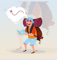 man backpacker holding map traveler hiling on vector image