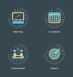 Meeting planning discussion goals set of 4 flat vector