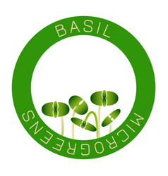 Microgreens basil seed packaging design round vector
