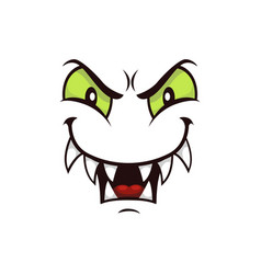 Monster face with gloat smile cartoon icon vector