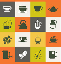 multicolor tea icons set vector image
