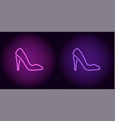 neon women shoe in purple and violet color vector image