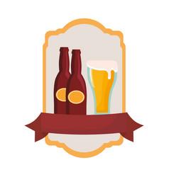 oktoberfest beer bottles glass emblem vector image