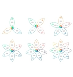 Outline infographics with 3 - 8 steps petals vector