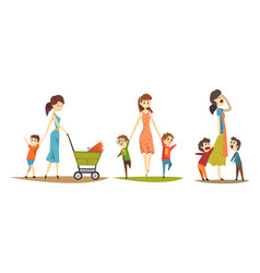 pretty mothers walking with their little kids set vector image