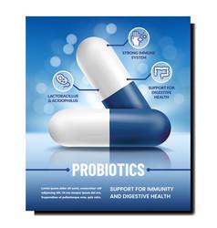 Probiotics pills creative promotion banner vector
