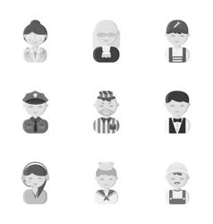 Profession set icons in monochrome style big vector