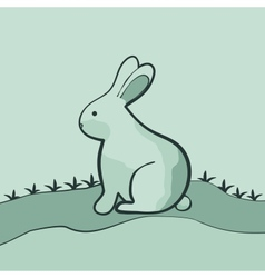 Rabbit on the green lawn vector