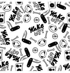 rap music hip hop doodle pattern with rap vector image