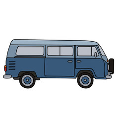 Retro blue minivan vector
