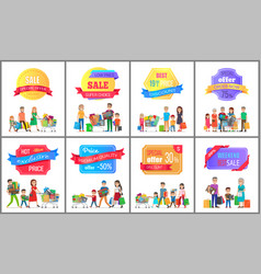 sale special offer labels posters people shopping vector image