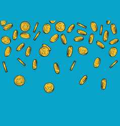 Seamless background with falling gold coins vector